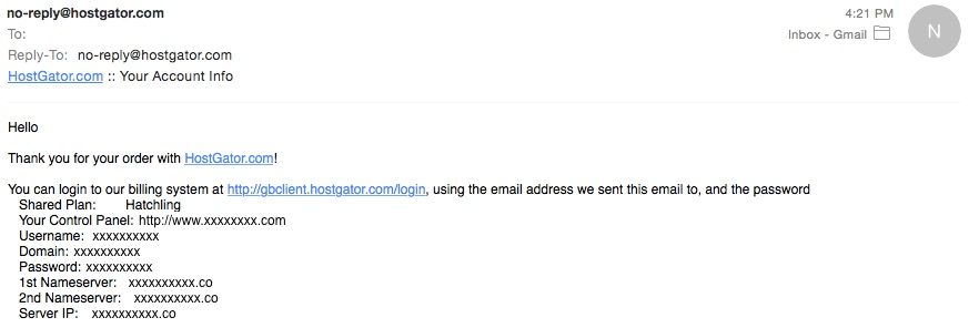 1. Email From HostGator - Make A Blog - i need money ASAP!