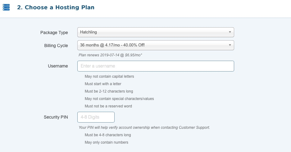 4. Choose A Hosting Plan