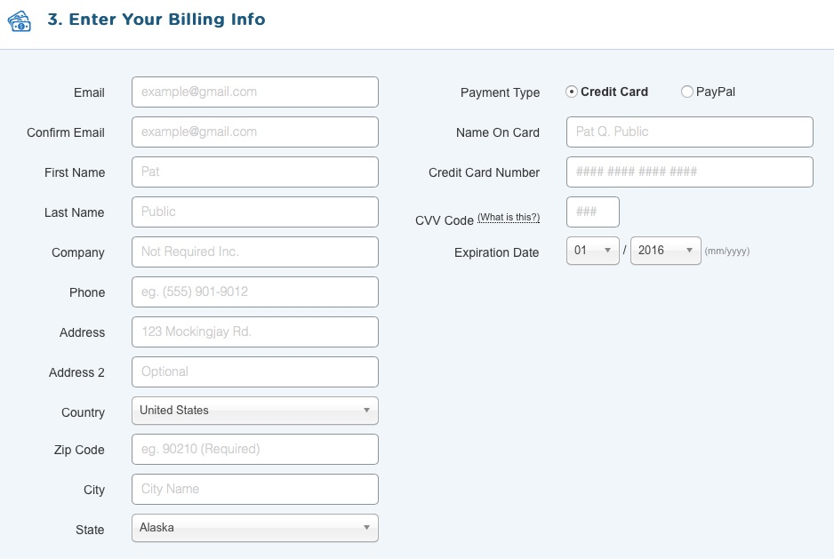 5. Enter Your Billing Info